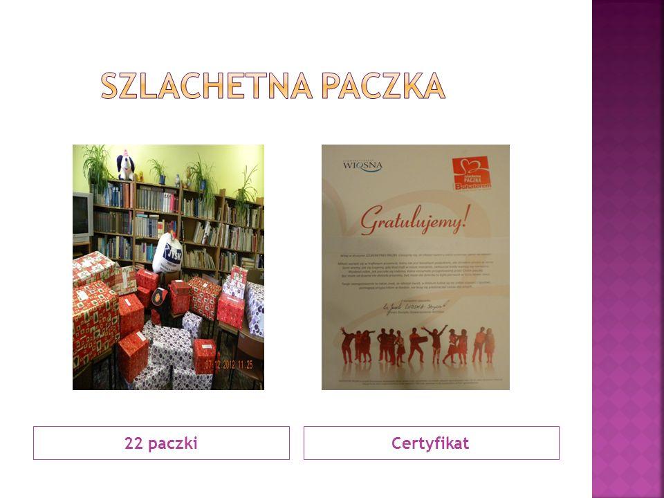 Szlachetna paczka 22 paczki Certyfikat