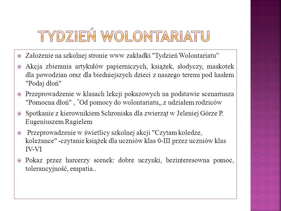 Tydzień Wolontariatu Założenie na szkolnej stronie www zakładki Tydzień Wolontariatu