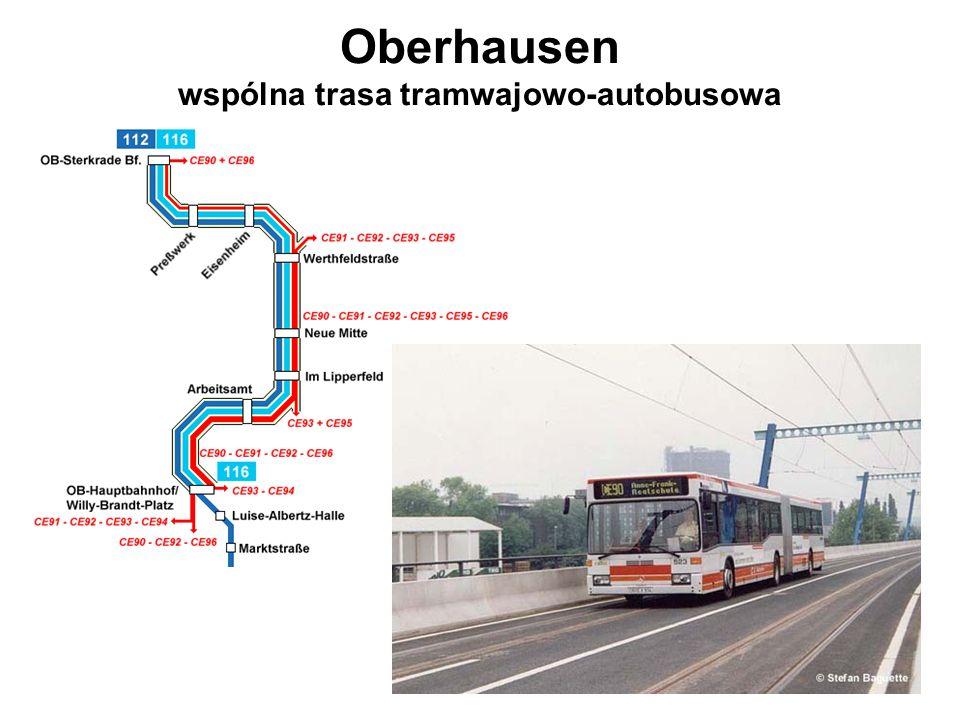 Oberhausen wspólna trasa tramwajowo-autobusowa