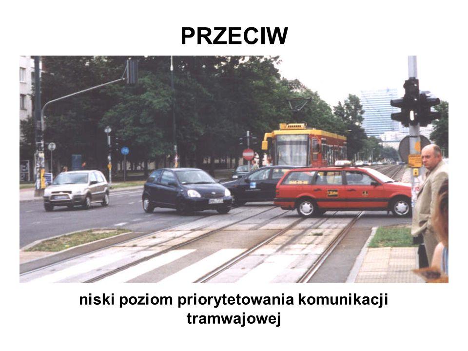 niski poziom priorytetowania komunikacji tramwajowej