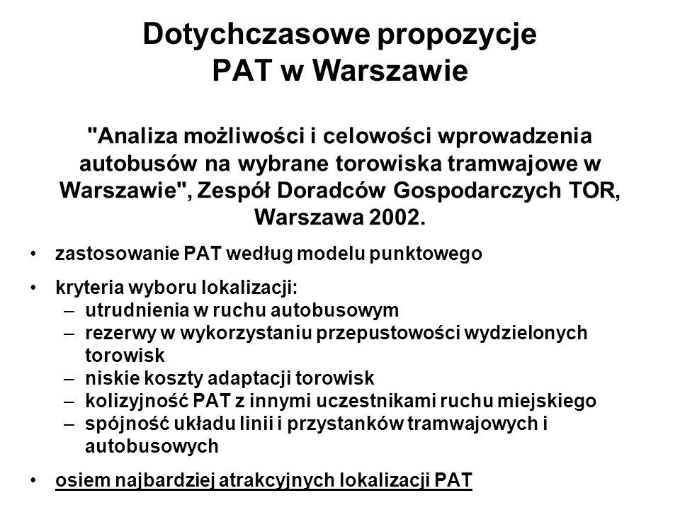 Dotychczasowe propozycje PAT w Warszawie