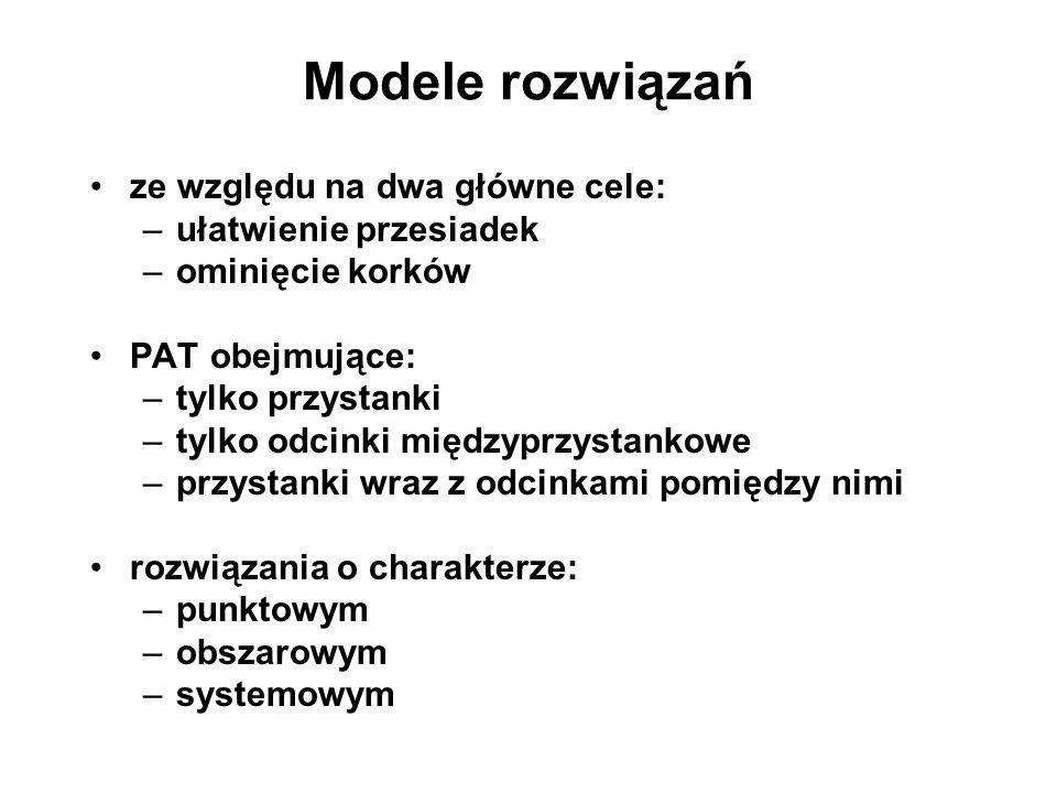 Modele rozwiązań ze względu na dwa główne cele: ułatwienie przesiadek