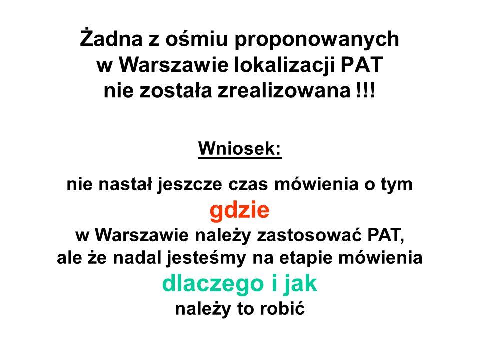 Żadna z ośmiu proponowanych w Warszawie lokalizacji PAT nie została zrealizowana !!!