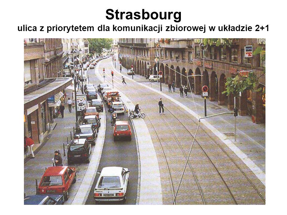 Strasbourg ulica z priorytetem dla komunikacji zbiorowej w układzie 2+1