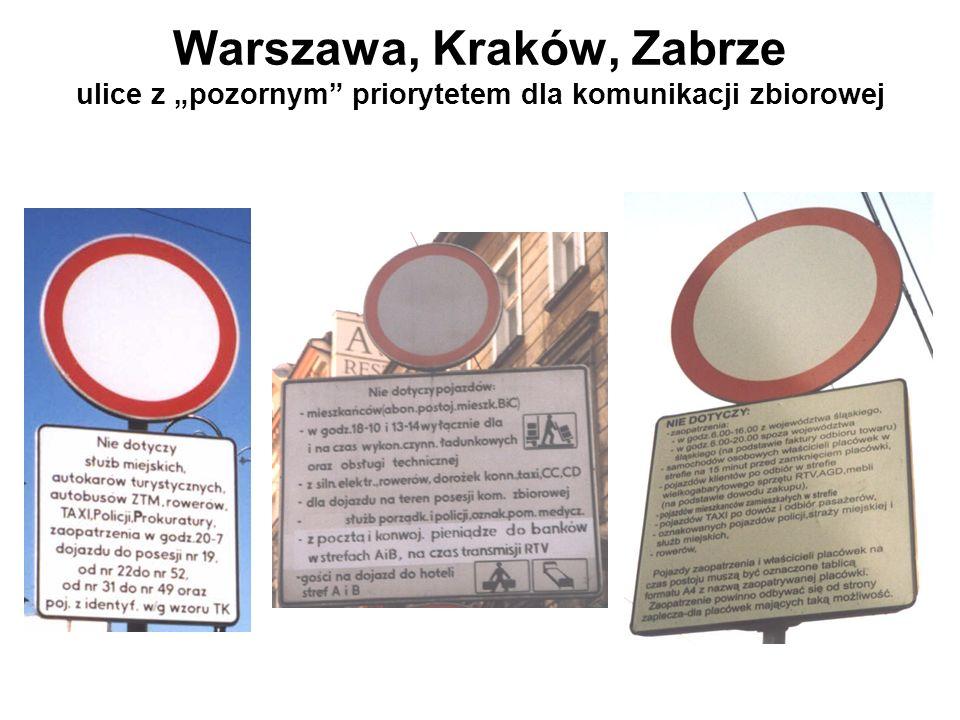 """Warszawa, Kraków, Zabrze ulice z """"pozornym priorytetem dla komunikacji zbiorowej"""