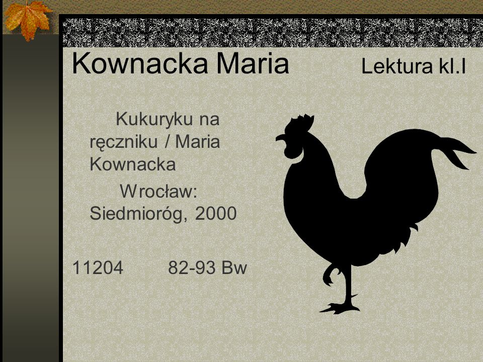Kownacka Maria Lektura kl.I