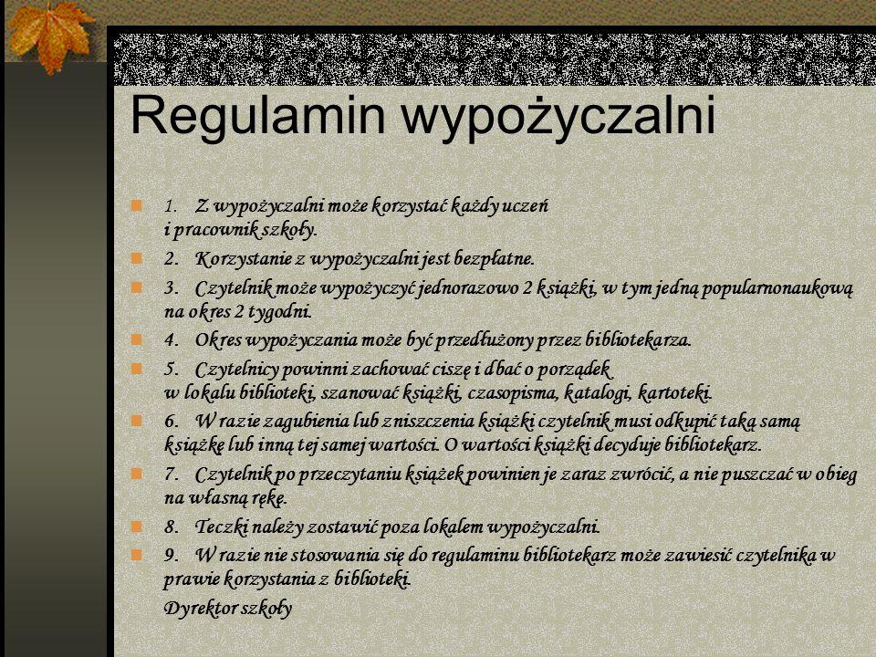 Regulamin wypożyczalni
