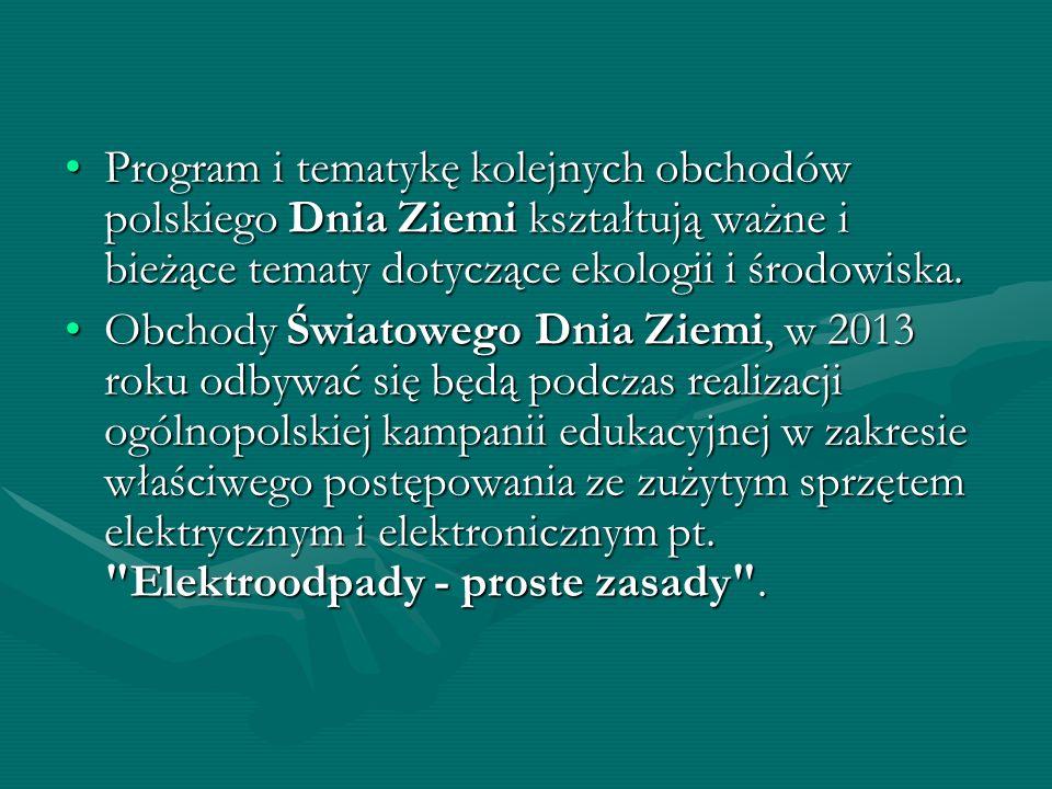 Program i tematykę kolejnych obchodów polskiego Dnia Ziemi kształtują ważne i bieżące tematy dotyczące ekologii i środowiska.