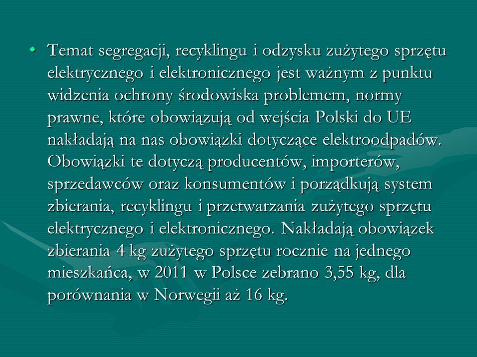 Temat segregacji, recyklingu i odzysku zużytego sprzętu elektrycznego i elektronicznego jest ważnym z punktu widzenia ochrony środowiska problemem, normy prawne, które obowiązują od wejścia Polski do UE nakładają na nas obowiązki dotyczące elektroodpadów.