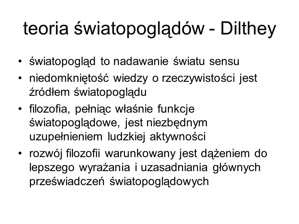 teoria światopoglądów - Dilthey