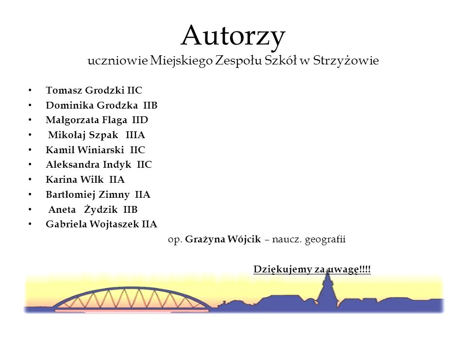 Autorzy uczniowie Miejskiego Zespołu Szkół w Strzyżowie