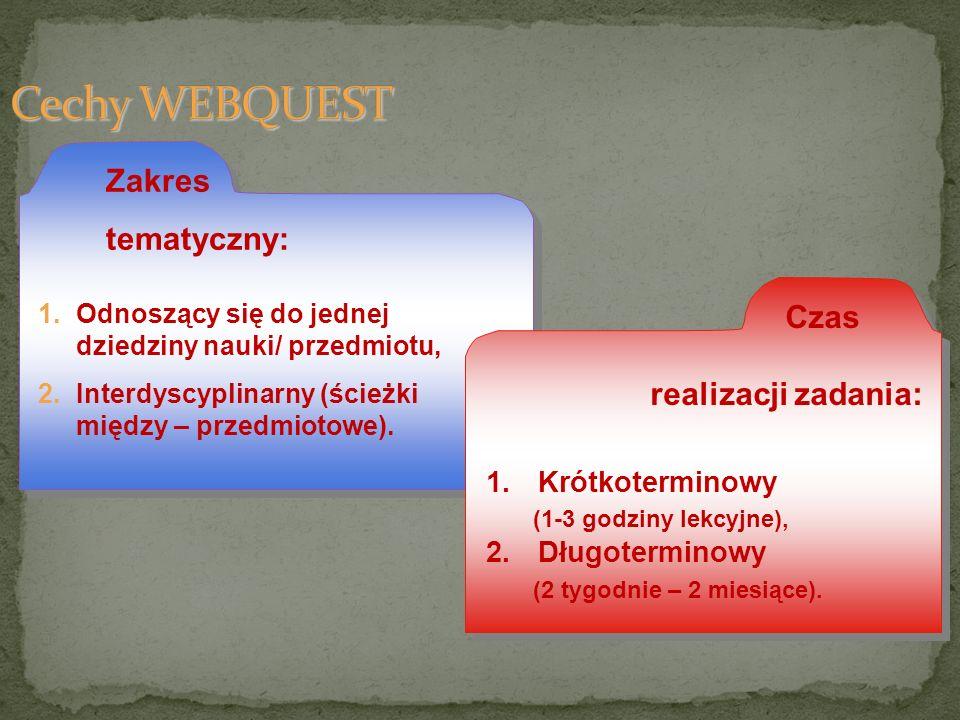Cechy WEBQUEST tematyczny: realizacji zadania: