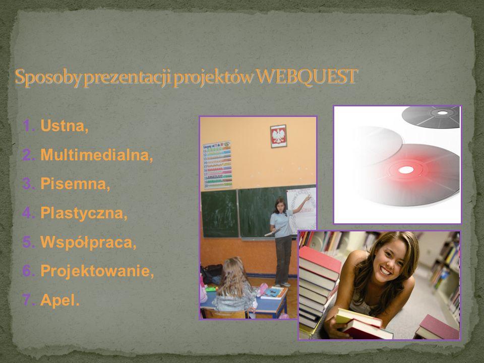 Sposoby prezentacji projektów WEBQUEST