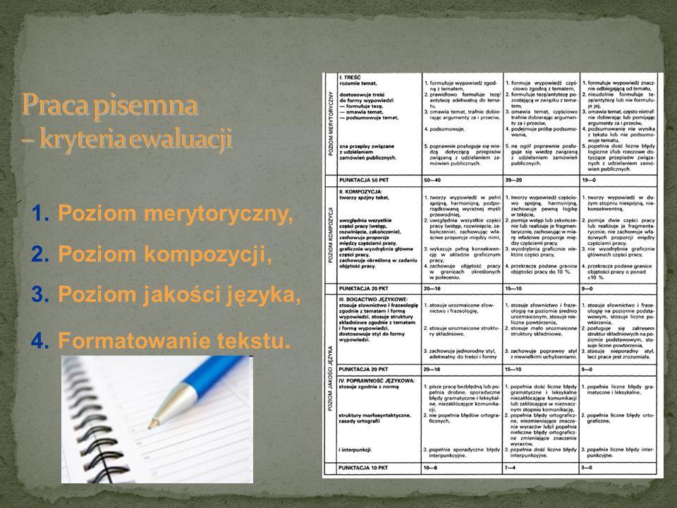 Praca pisemna – kryteria ewaluacji