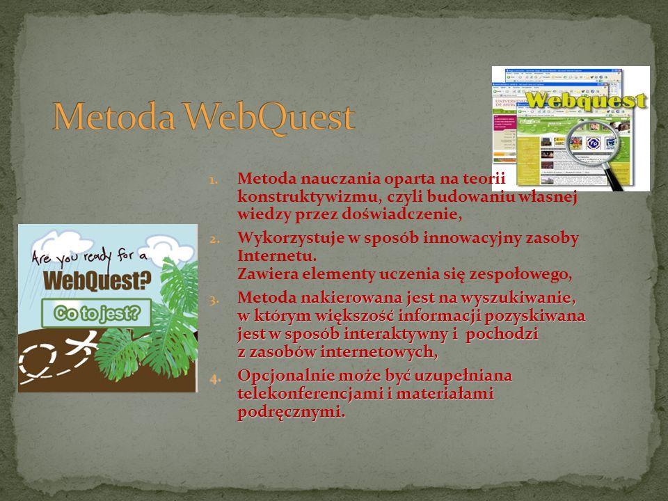 Metoda WebQuest Metoda nauczania oparta na teorii konstruktywizmu, czyli budowaniu własnej wiedzy przez doświadczenie,