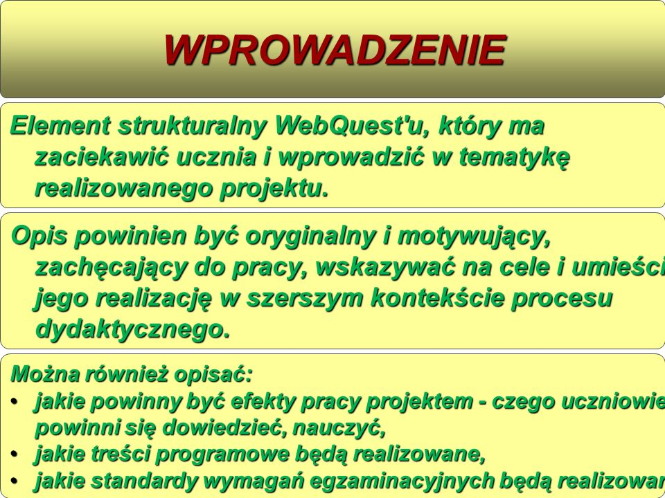WPROWADZENIE Element strukturalny WebQuest u, który ma zaciekawić ucznia i wprowadzić w tematykę realizowanego projektu.