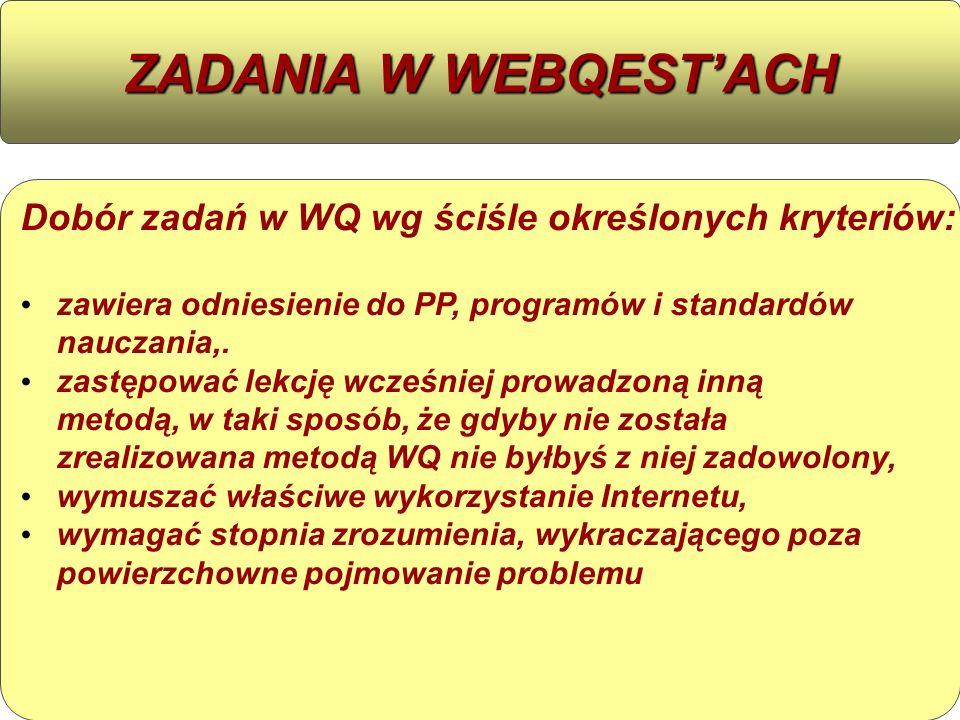 ZADANIA W WEBQEST'ACHDobór zadań w WQ wg ściśle określonych kryteriów: zawiera odniesienie do PP, programów i standardów nauczania,.
