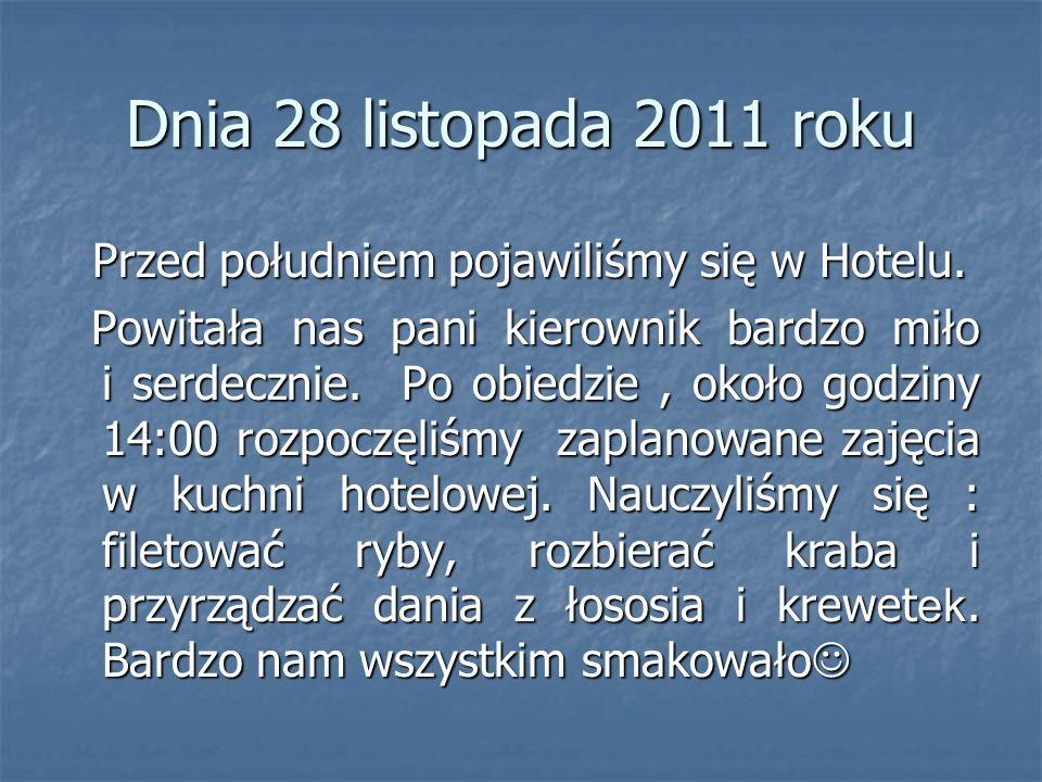 Dnia 28 listopada 2011 roku Przed południem pojawiliśmy się w Hotelu.