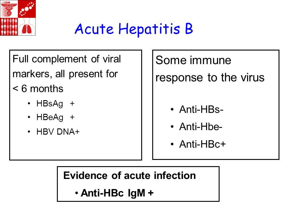 Acute Hepatitis B Some immune response to the virus