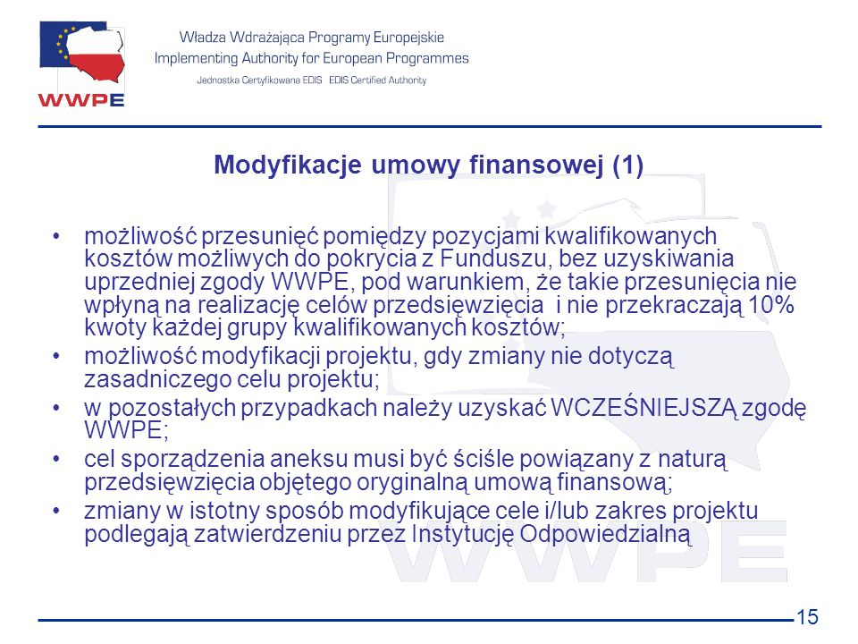 Modyfikacje umowy finansowej (1)