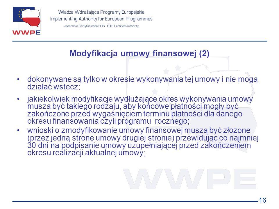 Modyfikacja umowy finansowej (2)