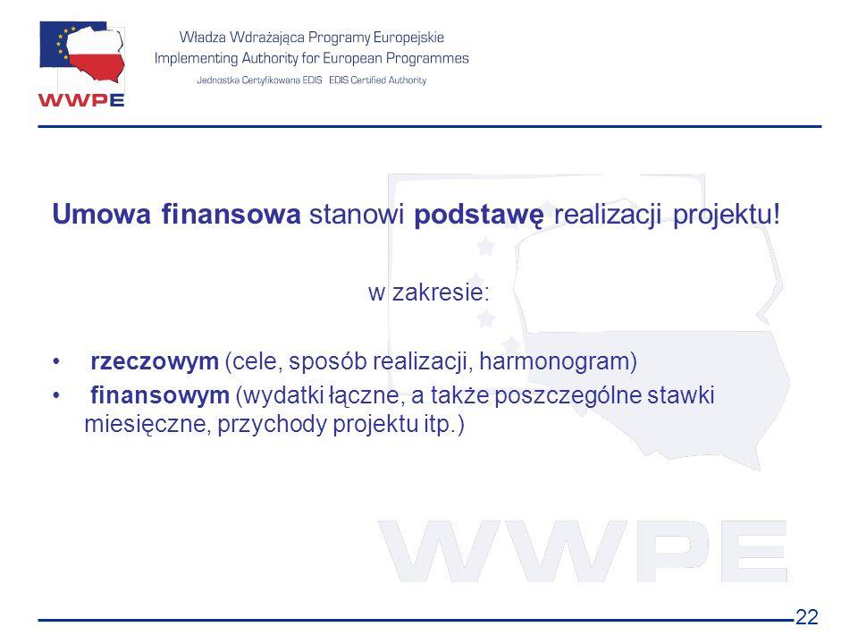 Umowa finansowa stanowi podstawę realizacji projektu!
