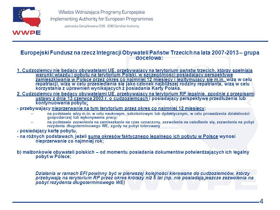 Europejski Fundusz na rzecz Integracji Obywateli Państw Trzecich na lata 2007-2013 – grupa docelowa:
