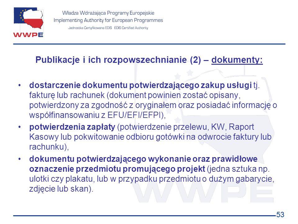 Publikacje i ich rozpowszechnianie (2) – dokumenty: