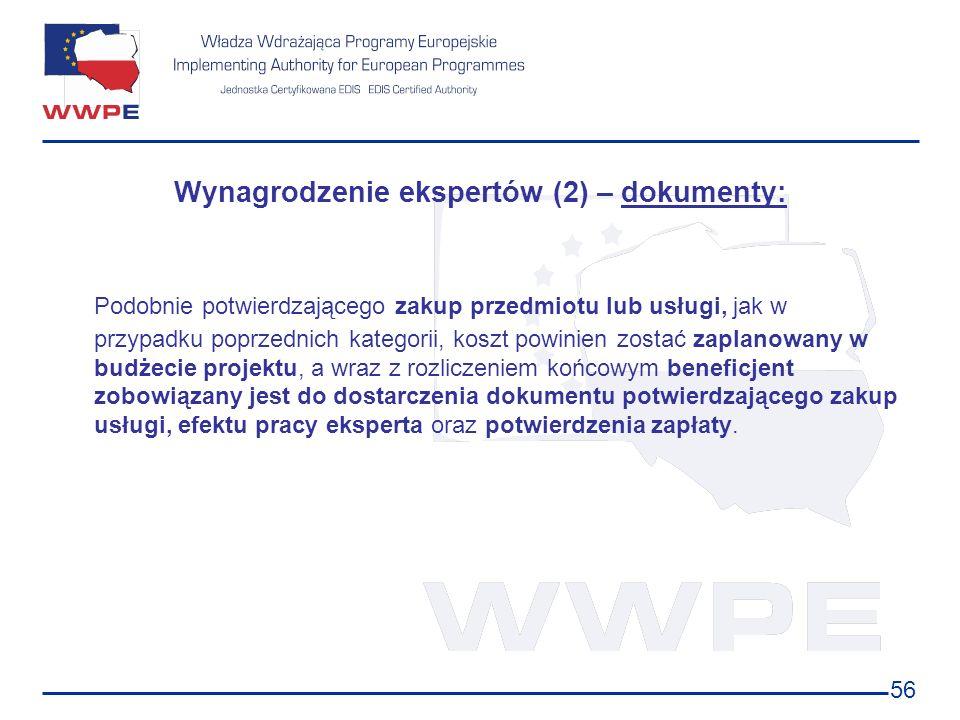 Wynagrodzenie ekspertów (2) – dokumenty: