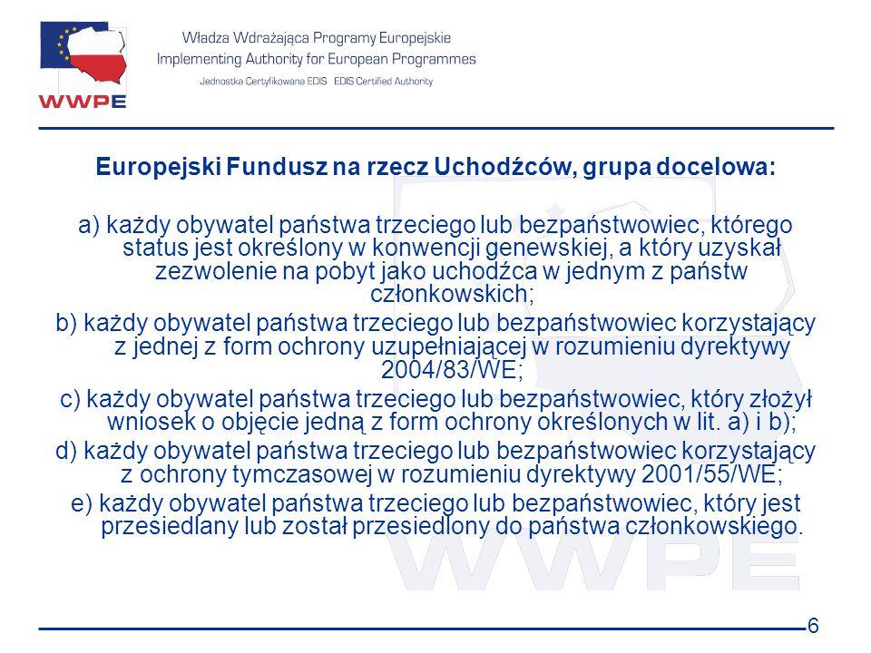 Europejski Fundusz na rzecz Uchodźców, grupa docelowa: