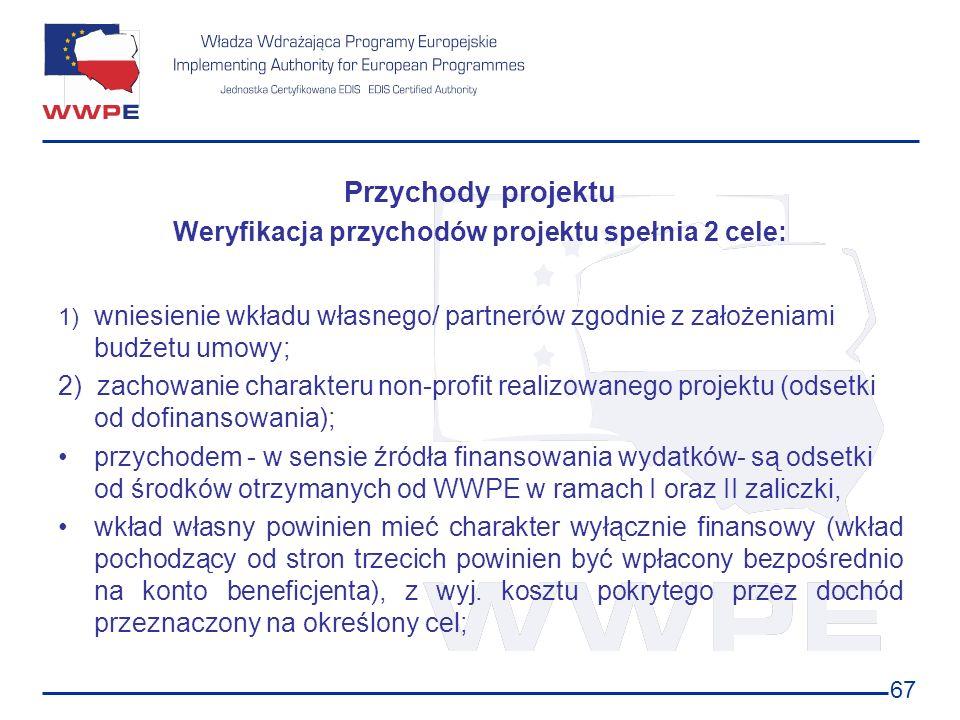 Weryfikacja przychodów projektu spełnia 2 cele: