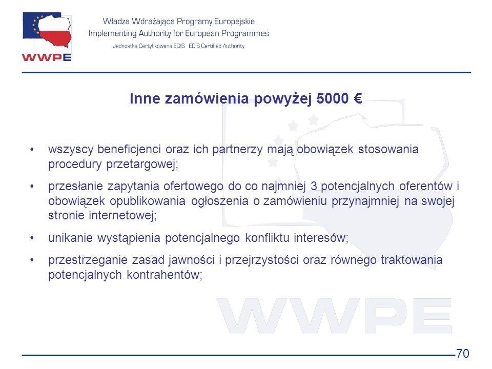 Inne zamówienia powyżej 5000 €