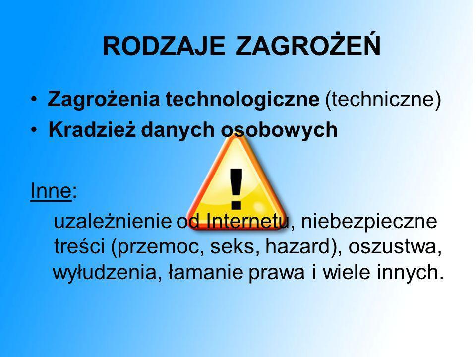 RODZAJE ZAGROŻEŃ Zagrożenia technologiczne (techniczne)