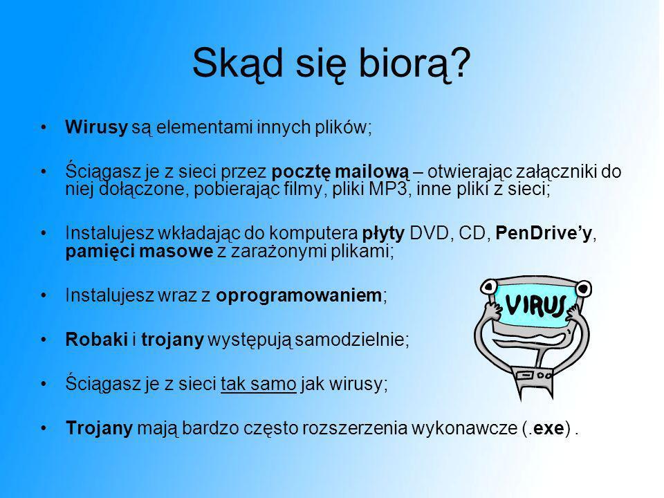 Skąd się biorą Wirusy są elementami innych plików;