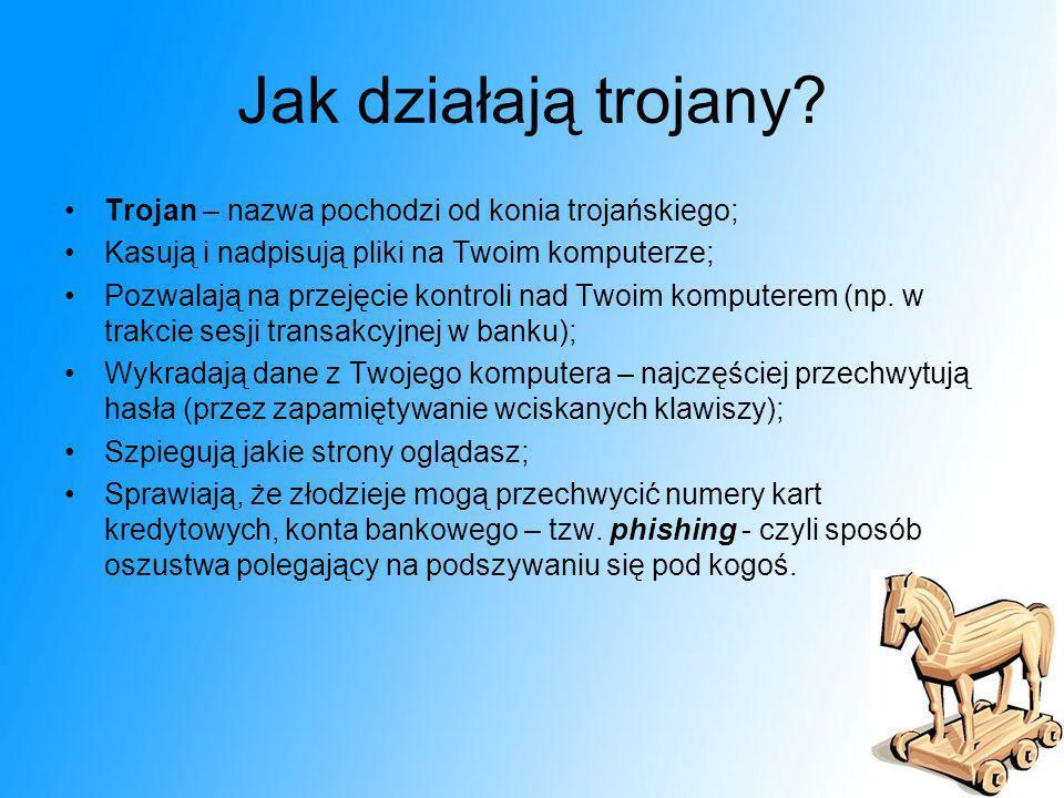 Jak działają trojany Trojan – nazwa pochodzi od konia trojańskiego;