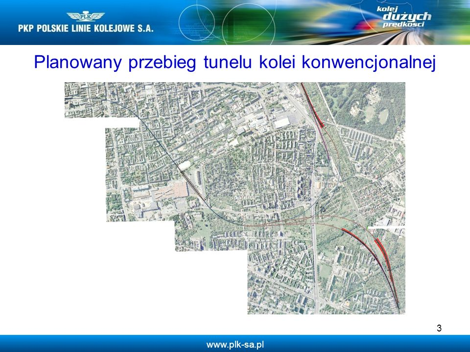 Planowany przebieg tunelu kolei konwencjonalnej
