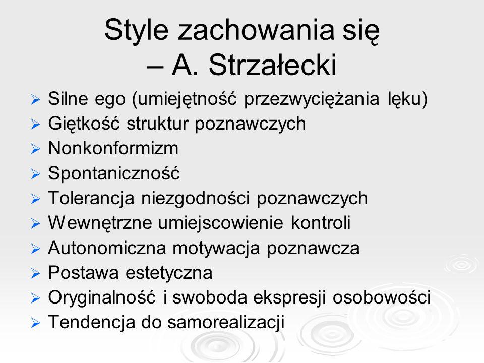 Style zachowania się – A. Strzałecki