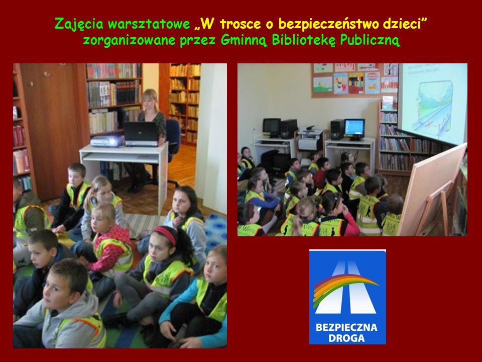 """Zajęcia warsztatowe """"W trosce o bezpieczeństwo dzieci zorganizowane przez Gminną Bibliotekę Publiczną"""