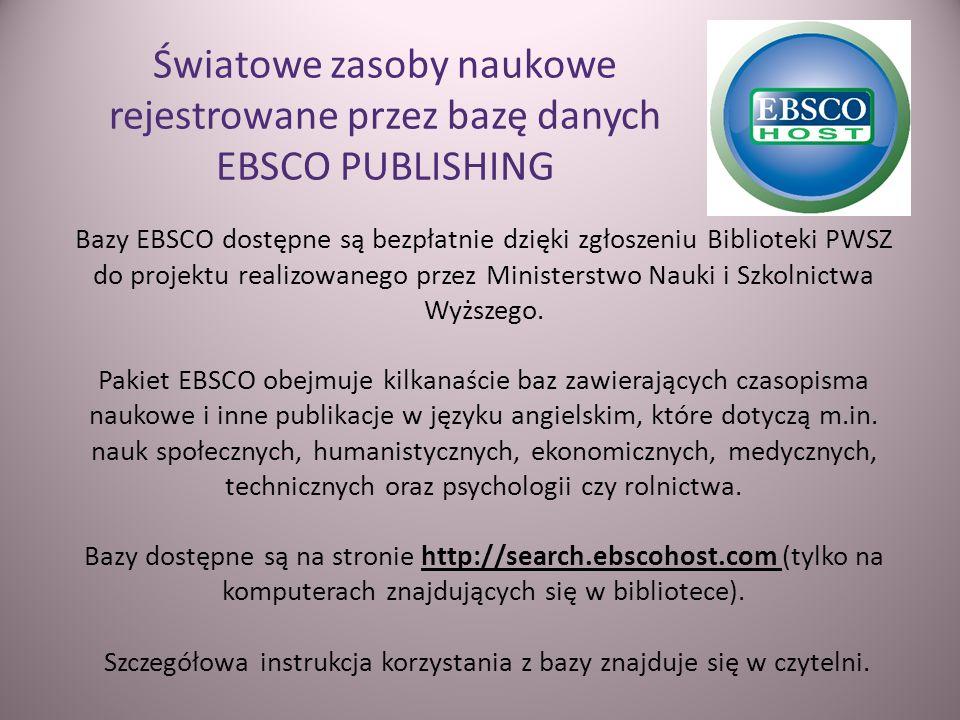 Światowe zasoby naukowe rejestrowane przez bazę danych EBSCO PUBLISHING