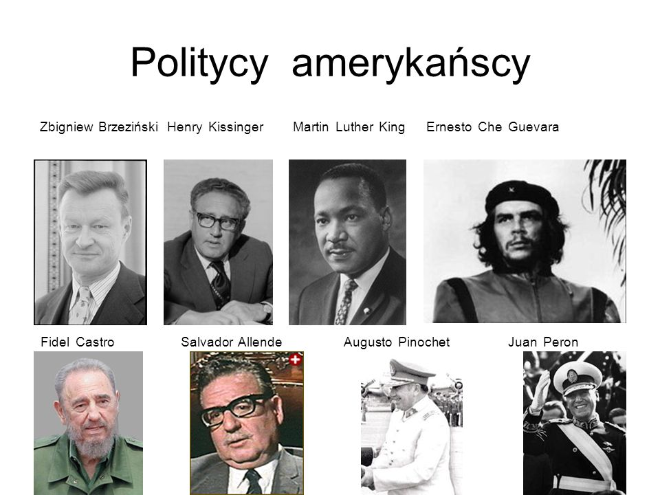 Politycy amerykańscyZbigniew Brzeziński Henry Kissinger Martin Luther King Ernesto Che Guevara.