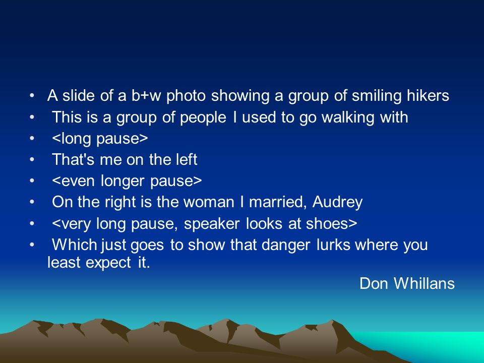 A slide of a b+w photo showing a group of smiling hikers