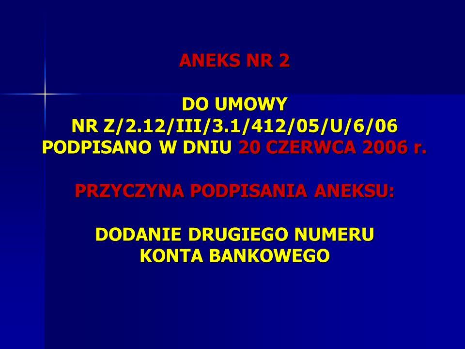 ANEKS NR 2 DO UMOWY NR Z/2. 12/III/3