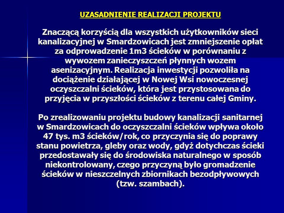 UZASADNIENIE REALIZACJI PROJEKTU Znaczącą korzyścią dla wszystkich użytkowników sieci kanalizacyjnej w Smardzowicach jest zmniejszenie opłat za odprowadzenie 1m3 ścieków w porównaniu z wywozem zanieczyszczeń płynnych wozem asenizacyjnym.