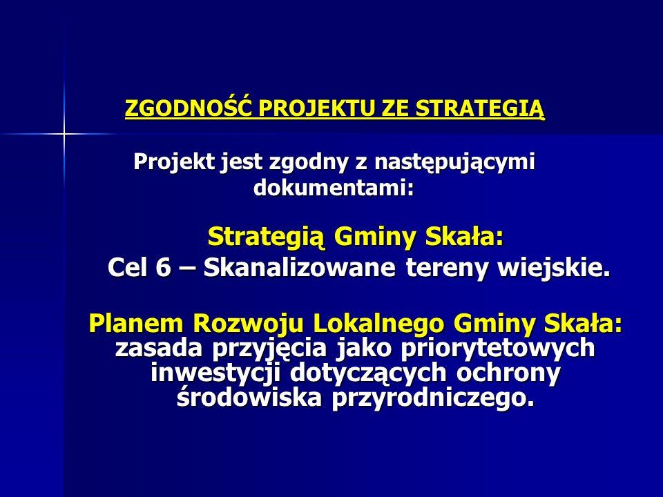 Strategią Gminy Skała: Cel 6 – Skanalizowane tereny wiejskie.