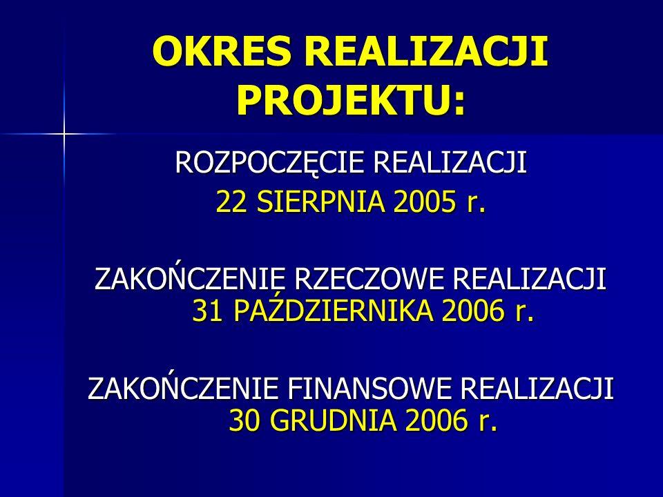 OKRES REALIZACJI PROJEKTU: