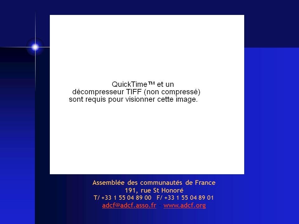 Assemblée des communautés de France adcf@adcf.asso.fr - www.adcf.org