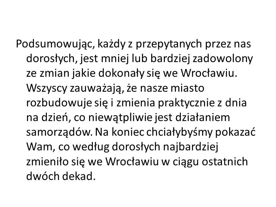 Podsumowując, każdy z przepytanych przez nas dorosłych, jest mniej lub bardziej zadowolony ze zmian jakie dokonały się we Wrocławiu.