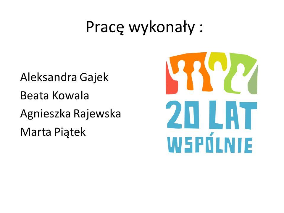 Pracę wykonały : Aleksandra Gajek Beata Kowala Agnieszka Rajewska
