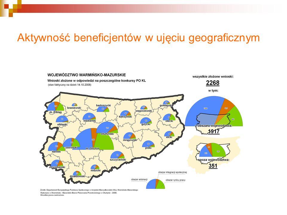 Aktywność beneficjentów w ujęciu geograficznym