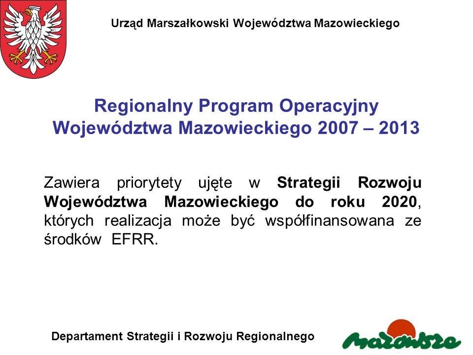 Regionalny Program Operacyjny Województwa Mazowieckiego 2007 – 2013